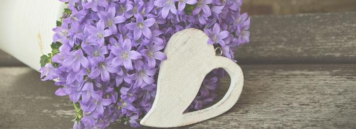 flowers in heart vase